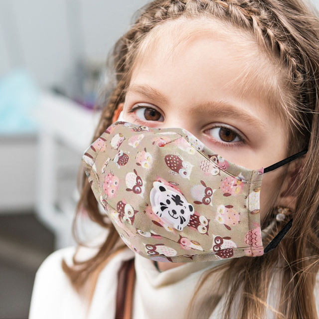 PM2.5 Washable Children Mouth Mask Flu Respiratory Valve Cartoon Thicken Smog Mask Warm Dust Mask Fits 2-10 Years Old Kid Muffle 2