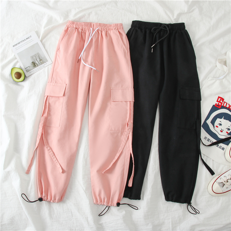 Spring Cargo Pants Student Sport Casual Sweatpants  Women Black High Waist Pocket Trousers Streetwear Womens Joggers Sweatpants