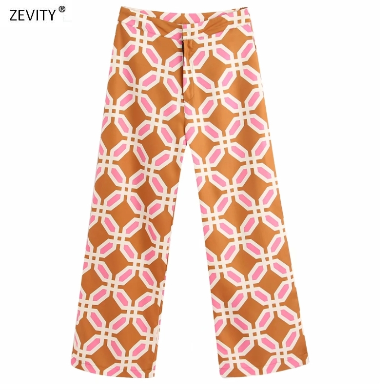 Women Popular Colorful Geometric Print Straight Pants Femme Leisure Zipper Trousers Office Lady Wear Casual Slim Chic Pants P604