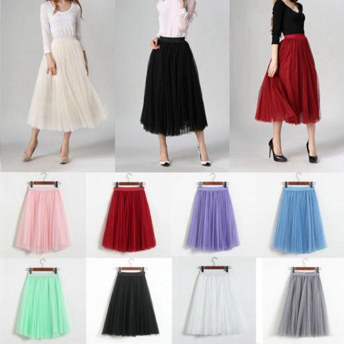 Elegant Fashion Women Princess Ballet Tulle Mesh Skirt Elastic High Waist Layers Midi Long Skirt