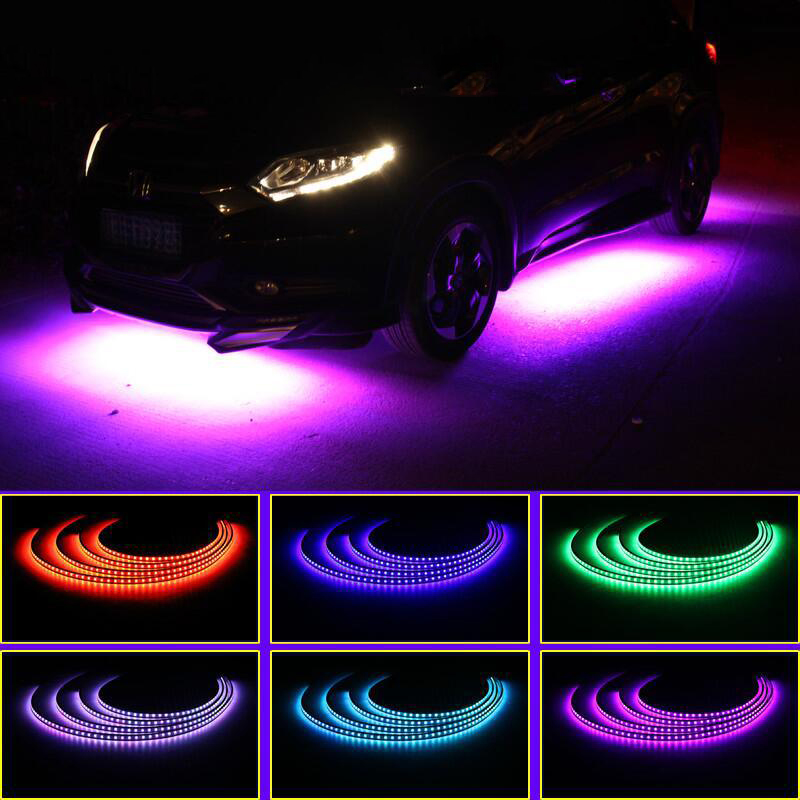 Us 28 99 40 Off 2019 Newest Car Led Strip Light Running Lights Rgb Remote Control Waterproof Ip68 Exterior Atmosphere Light Auto Bottom Lamps In