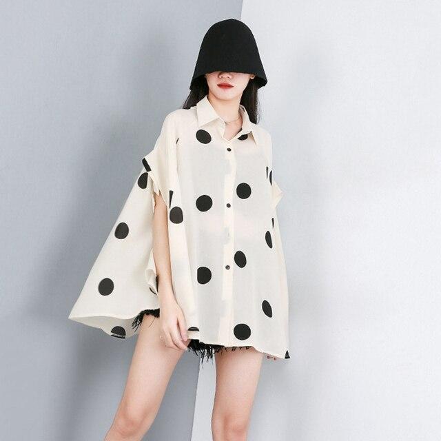 [EAM] 2021 New Spring Summer Lapel Half Sleeve Black Dot Printed Loose Temperament Big Size Shirt Women Blouse Fashion JW576 5