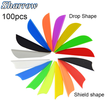 100pcsArrow Feather Archery Hunting Shooting 1.75 Inch Plastic Feather Vanes 8 Color Rubber Feather Fletching DIY Arrow 50 100pcs 1 75inch hunting arrow feather drop shape fletching high quality 7 color rubber feather vanes shooting accessories