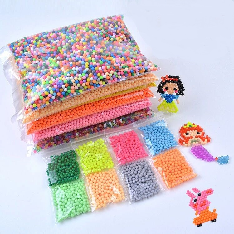 100Pcs/Set 42 Colors Water Spray Aqua Perler Magic Beads Educational 3D Puzzles Accessories for Children kids Toys(China)