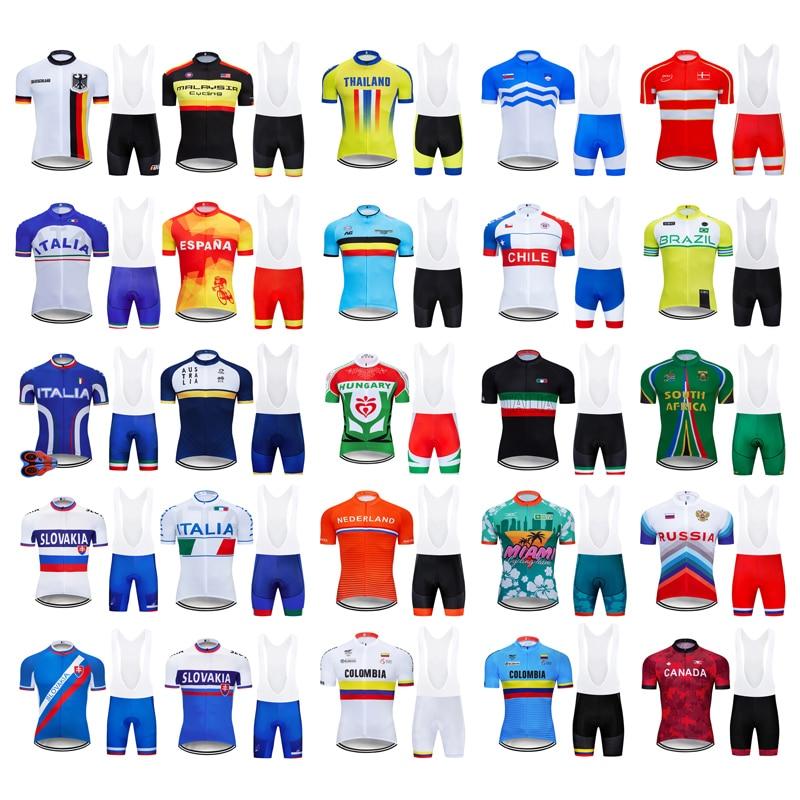 2019 9D Nacional Da Equipe de Ciclismo Jersey Bib Definir Roupas Bicicleta MTB Uniforme Secagem rápida Roupas Bicicleta Dos Homens Curto Maillot Culotte terno