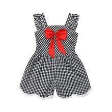 Для детей, для маленьких девочек клетчатый комбинезон без рукавов, комбинезон с бабочкой комбинезон цельнокроеный комбинезон шорты модная летняя одежда для девочек одежда с узорами летнее От 1 до 6 лет