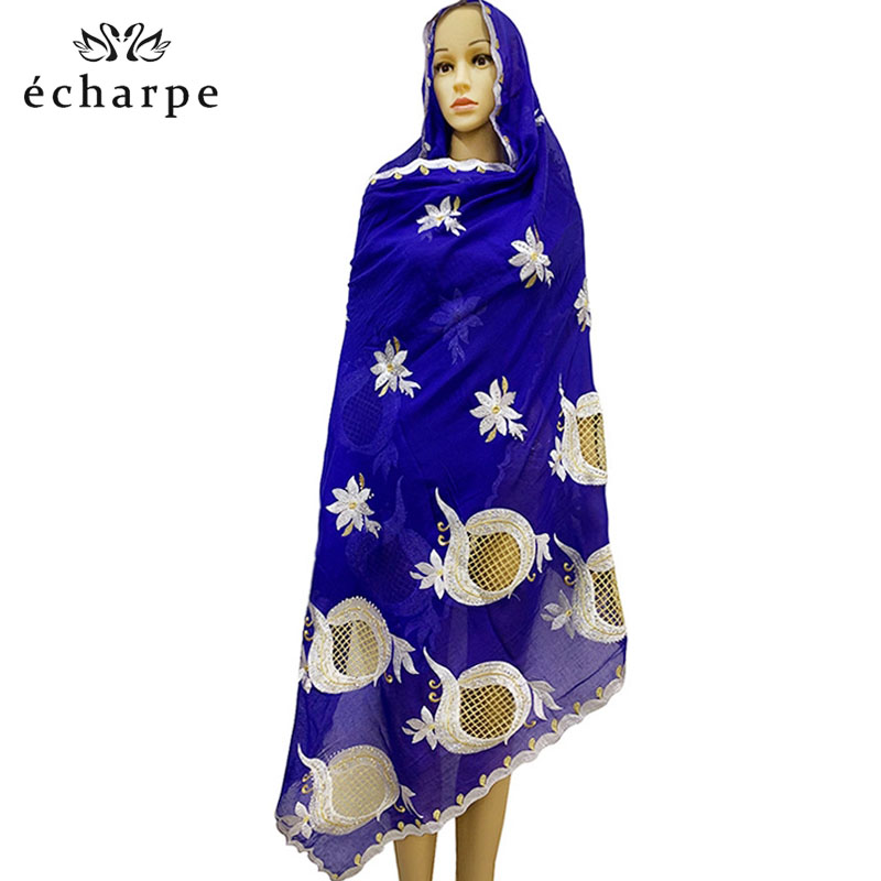 2019 New African Women Scarf,Embroidery Scarf With Rhinestones, Nice Beige Scarf For Women Big Scarf For, Shawls Wrpas EC117