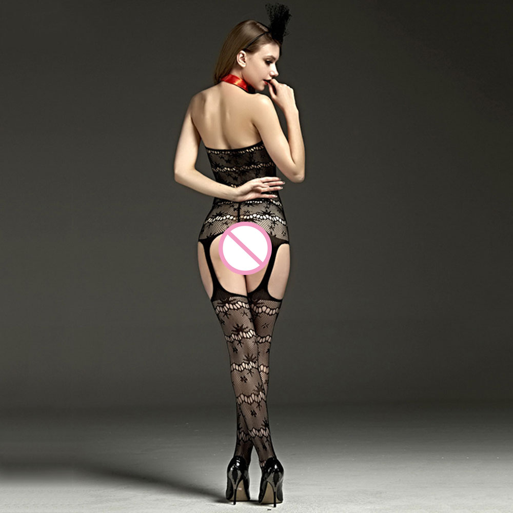 Black Open Crotch Sex Clothes Slutty Female Erotic Costumes Porn Women Sexy Lingerie Fishnet Body Stocking Dress Sexy Underwear