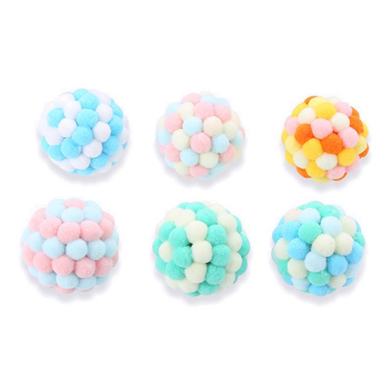 Мяч для кошки, Забавный мяч для кошки, плюшевый мяч-колокольчик, цветной многоцветный сшиваемый Рождественский цветной со встроенным звуко...
