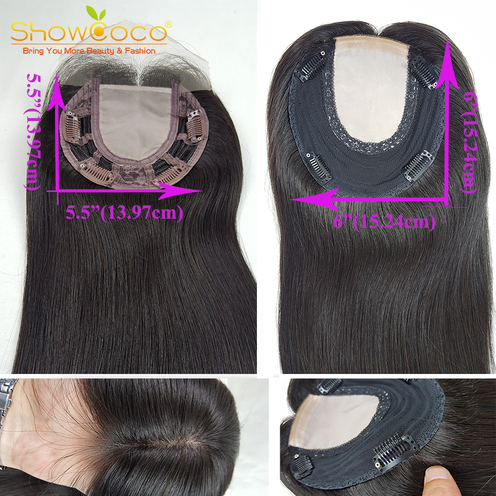 Human Hair Toupee For Women Hair Toppers 5.5*5.5 Silk Top Base 130% Virgin Hair No Silicone Clip In Hair Piece Toupee Showcoco