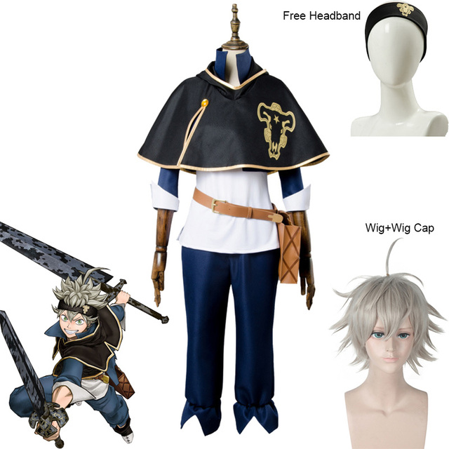 Anime Black Clover Asta Cosplay Costume Man and Woman Halloween Party Costumes Asta Wig and Free Wig Cap + Headband 1