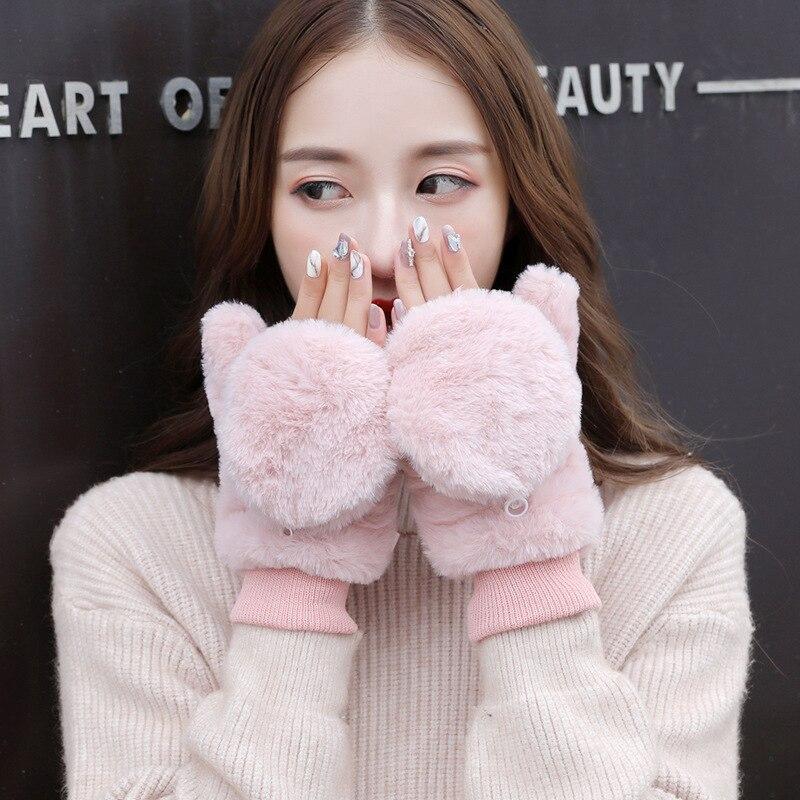 Winter New Plush Flip Mitt Women Gloves Female Cute Korean Version Of The Half Finger Student Warm Gloves