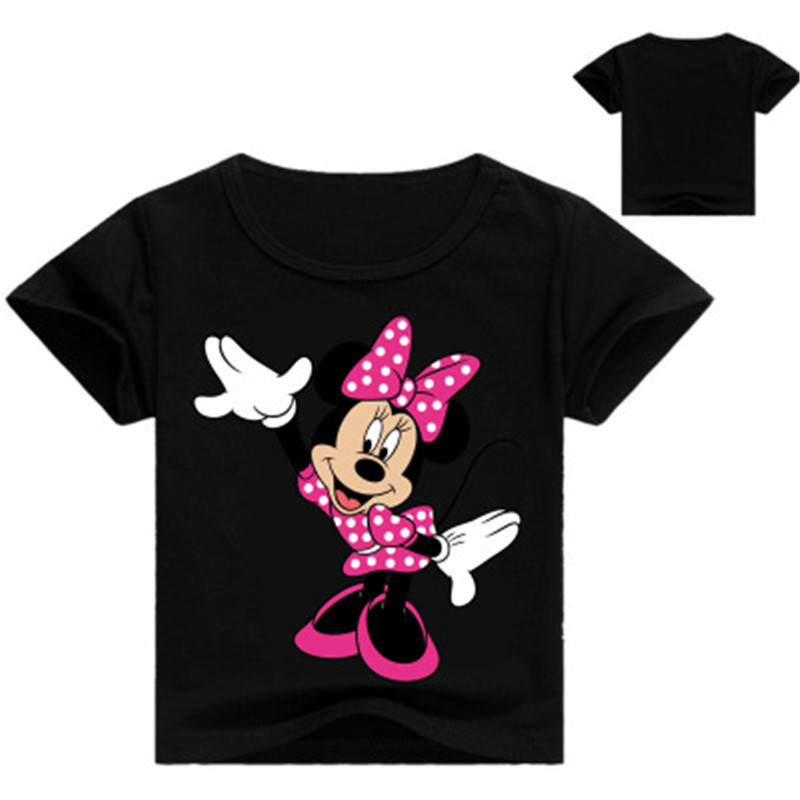 Children Tshirts Cartoon Printing Short Sleeve  Boys Girls Short Sleeve Minnie Summer T-shirt Funny Pattern Tops Kids Clothing