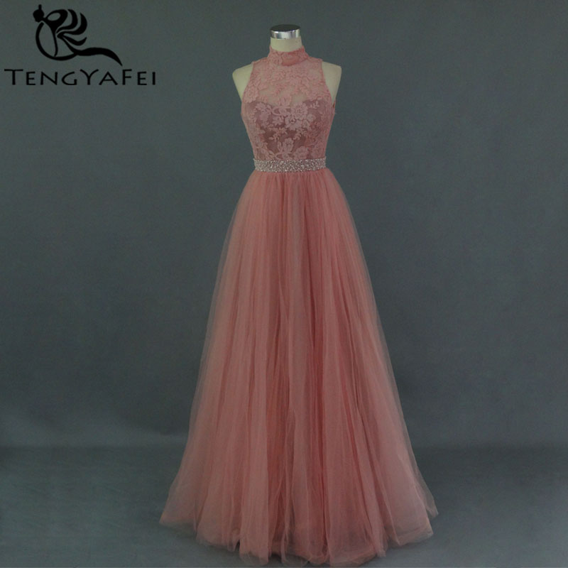 Custom Real Photo Sexy Backless High Neck Lace Prom Gown 2018 Vestido De Festa Evening Gowns Crystal Mother Of The Bride Dresses