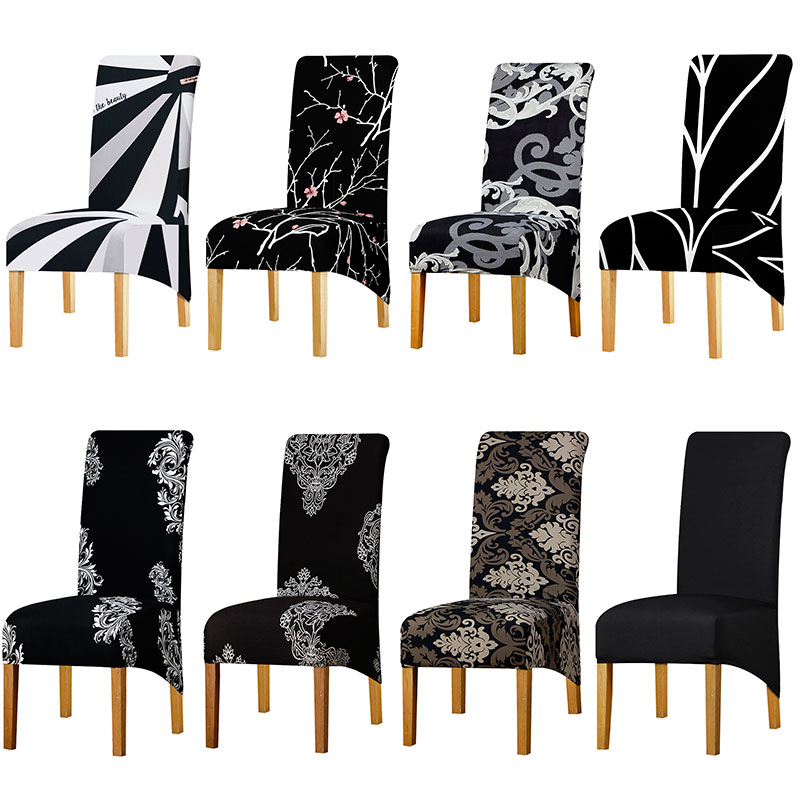 XL Size Black Grey Chair Cover Large Size Big Size High Back Long Seat Chair Covers King Back Chair Covers For Home Hotel Party