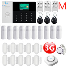 3G WIFI GPRS SIM SMS RFID Card  APP Remote Control Wireless Top Home Security Fire House Alarm System With Voice Alarm System smartyiba app push sms voice monitoring wireless wifi smart home burglar alarm sensor alarm with ip camera wireless siren horn