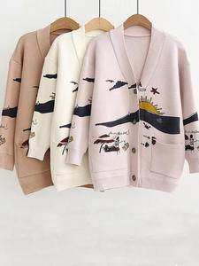 Women Tops Jumpers Casaul-Buttons Print White Autumn WOTWOY Coat Openswitch Belt Pockets