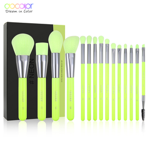 Image 2 - Docolor 15pcs Neon Makeup Brushes Tool Set Cosmetic Powder Foundation Eye Shadow Blush Blending Beauty Make Up Brush Maquiagem