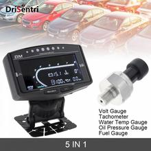 Universal  5 In 1 LCD Electronic Oil Pressure +Volt Voltmeter +Water Temperature Gauge +Fuel +Tachometer for Car / Truck