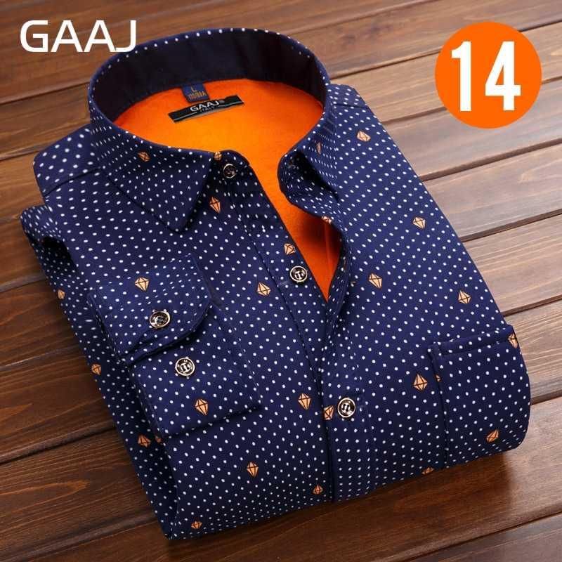 Gaaj Baju Pria Lengan Panjang Bunga Fashion Formal Cetak Kotak-kotak Kotak-kotak Kasual Katun Kemeja Sosial Kemeja Hangat dengan Bulu untuk pria