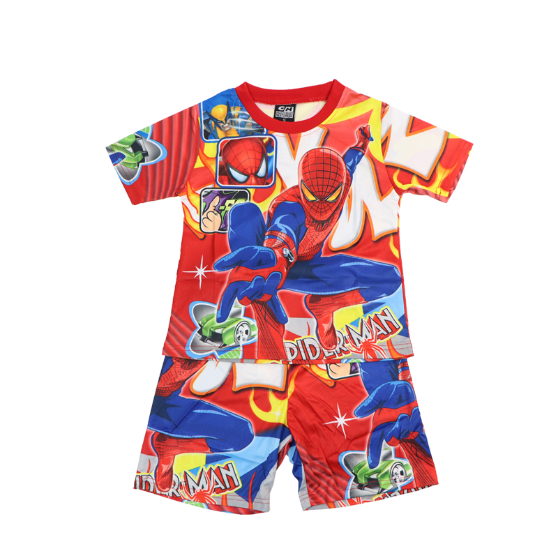 2021 New Disney Boy Sets Short Sleeve Cartoon Spiderman Kids Clothes Suit Summer Children's Clothing Shorts Pajamas Outfits 3-8Y