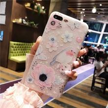 Mobile Phone Case TPU White Matte Embossed Bird Language Floral Protective Cover Shell For iPhone(China)