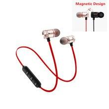 5.0 fone de ouvido bluetooth esportes neckband magnético sem fio fones estéreo música metal com microfone para todos os telefones