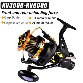 Double Unloading Force Fish Reel Sea Carp Fishing Spinning Reel Baitfeeder 13 + 1BB Axis Vertical Front Rear Drag Fishing Reel image