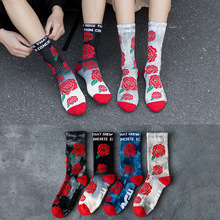 1Pair Crew Socks Casual Socks Cotton Thick Rose Floral Mid L