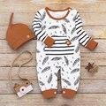 Для новорожденных от 0 до 24 месяцев Милая Бабочка; Полосатый комбинезон и шапочка с корректировкой размера, 2 предмета в комплекте, детская о...