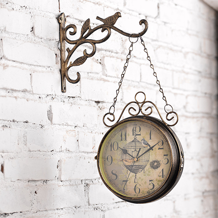 Oversized Rustic Wooden Wall Clock Round London Flag