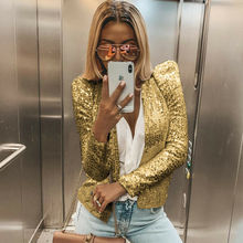 Office Lady Glitter Sequined Coats Fashion Women Slim Blazers OL Business Suit Puff Sleeve Jacket Bright Color Long Sleeve Coat