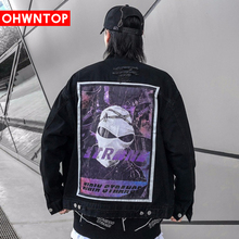 Harajuku Original Back Skull Head Print Mens Jean Jacket Hip Hop Denim Jacket Chaqueta Hombre Bomber Jacket Outwear Streetwear