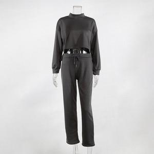 Image 5 - Women Black Loose Tracksuit Crop Top Harem Pants Matching Suit Fashion Autumn Casual Female Long Sleeve Sweatshirt 2 Piece Set