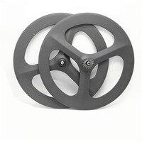 free shipping Carbon wheels 3 spokes 700c Fixed gear wheels Cycling Track wheel bike spoke Bicycle road 3 spoke wheelst