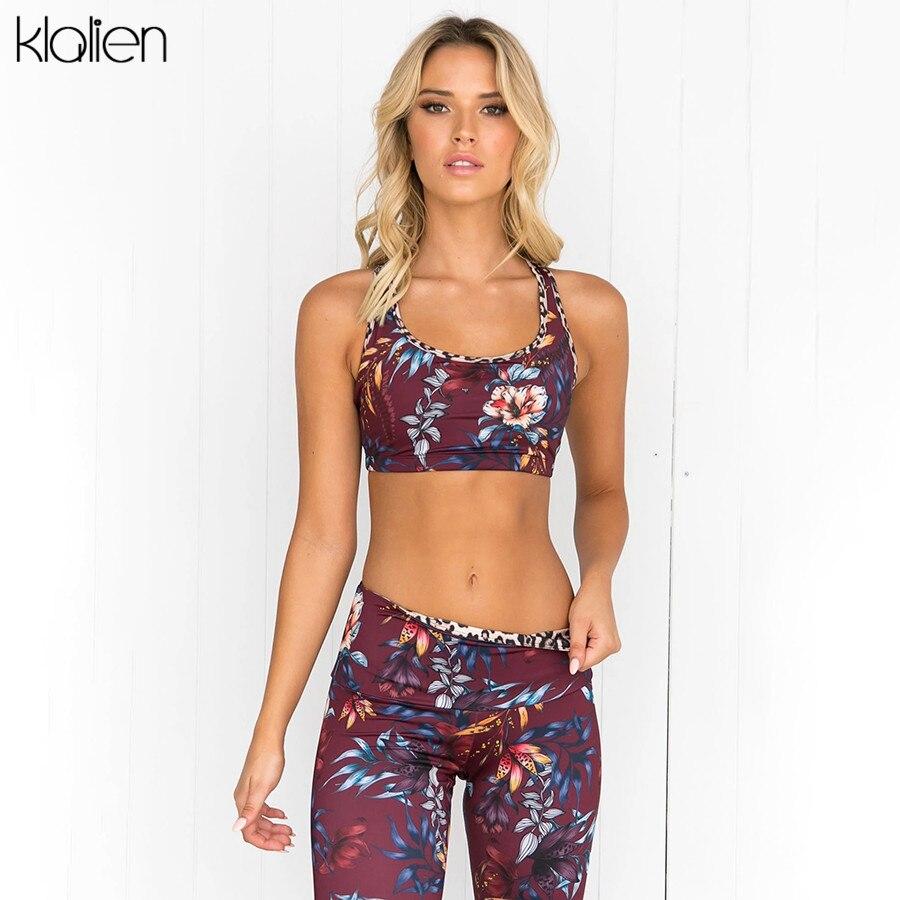 KLALIEN Red Flower Print Camisole Crop Top + Leggings High Waist Elastic Skinny Outfit 2020 Women Tracksuit Fitness 2 Piece Set