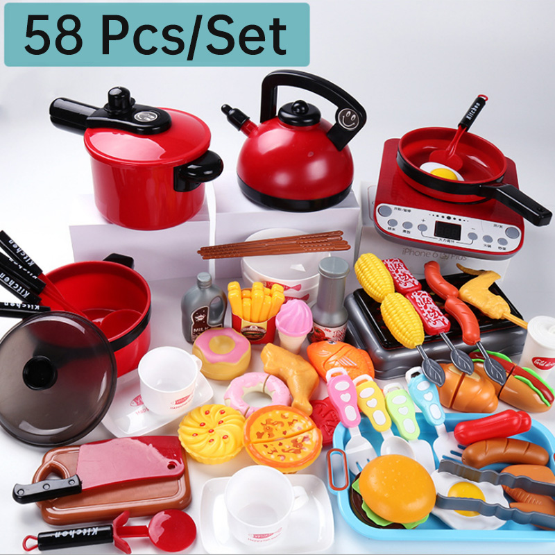 2020 New Set Hot Pretend Play Toy Microwave Oven Appliances Egg Pot Cutting Toy Food Set Toy Simulation With Meat Toy Gift