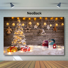 Christmas Backdrop Christmas Decor Tree Wooden Gifts Photography Backdrops Winter Snowman Children Backgrounds for Photo Studio цены