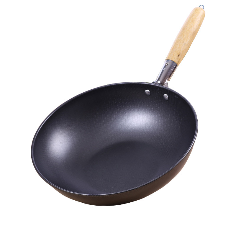 Frying Pan High-end Home Non-stick 30cm Wooden Handle Traditional Wok Super Cost-effective Scrambled Eggs Pan-free Pan Wok Pans