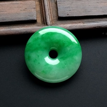 Jade Necklace For Women Charming Natural Green Chinese Round Buckle Harmony Amulet Lucky Pendant  Fine Jewelry