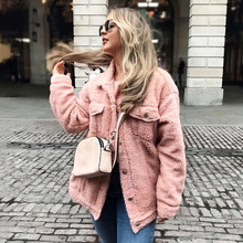 ALLNeon Faux Lambswool Coats for Women Turn-down Collar Pocket Front Solid Female Outerwear Winter Coats with Fur Warm Fashion цена