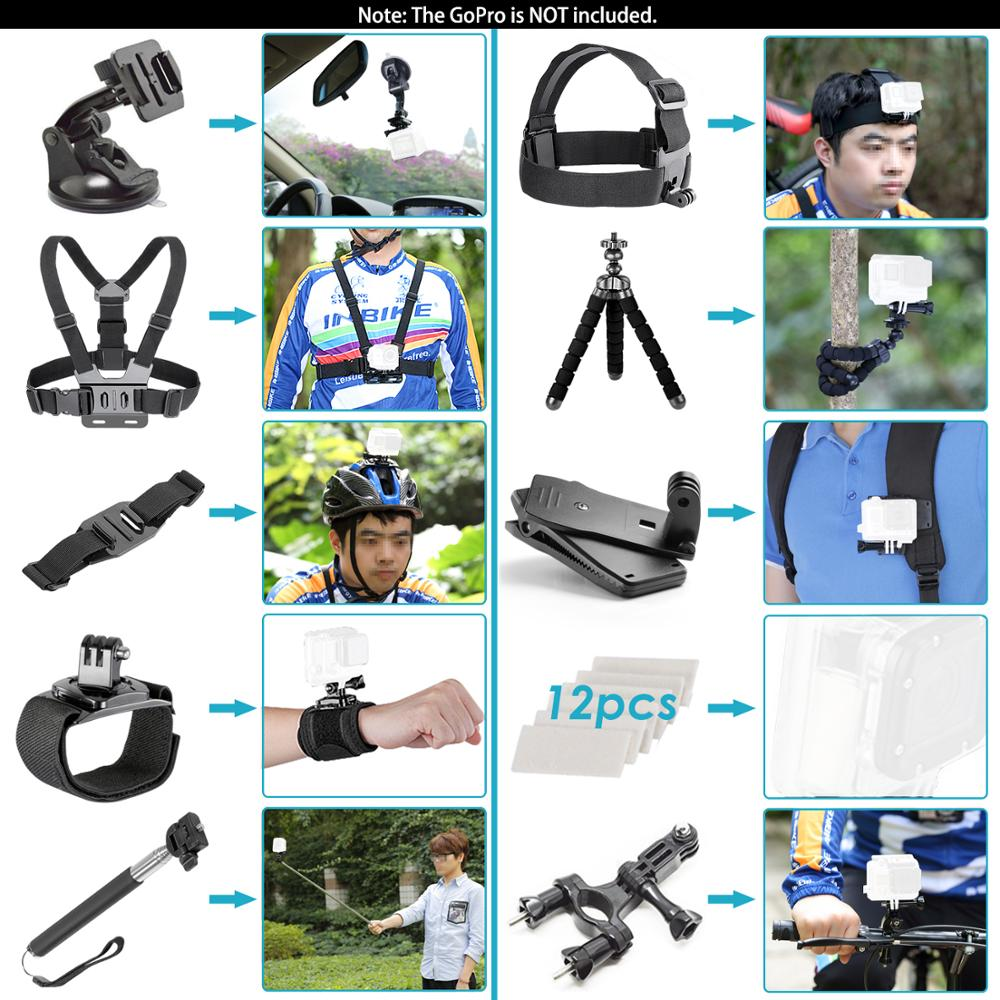 Neewer for GoPro Accessories Set for Go Pro Hero 8 7 6 5 4 Black Mount for Xiao Yi 4k Mijia Case for Sjcam Action Camera-3