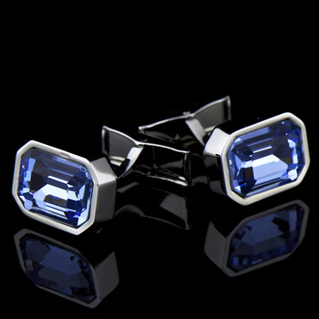 Men's French Classic High Grade Simple Blue Crystal Cuff Links 3