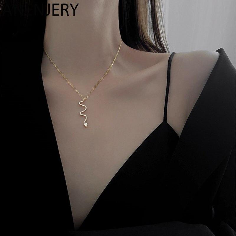ANENJERY 925 Sterling Silber Shiny Zirkon Schlange Halskette für Frauen Persönlichkeit Temperament Schlüsselbein Kette Partei Schmuck