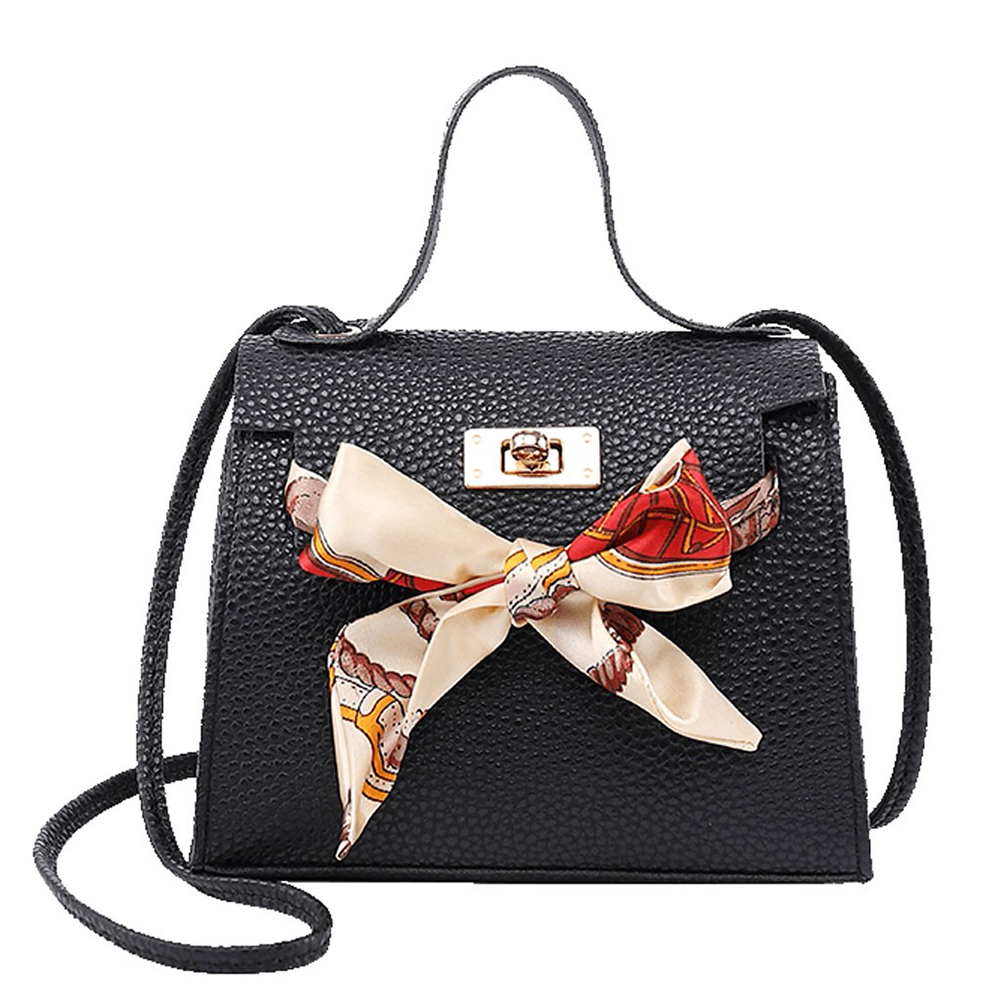 2019 Portable Women's Shoulder Bag PU Leather Fashion Female Lock Handbag Messenger Crossbody Bag With Ribbon Decoration