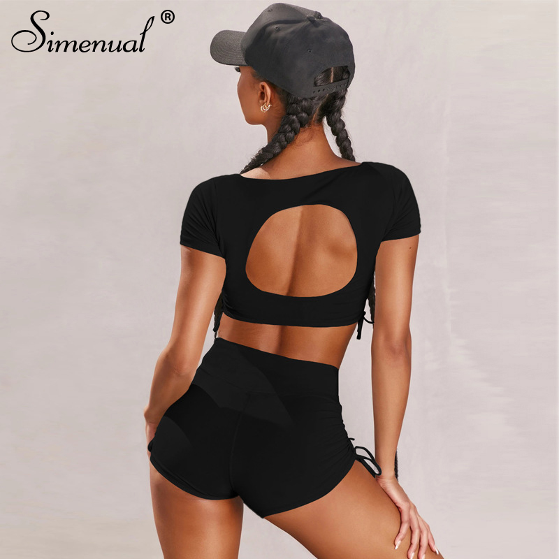 Simenual Solid Drawstring Casual Matching Set Women Short Sleeve Bodycon Workout 2 Piece Outfits Backless Top And Shorts Sets