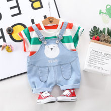 Kids Baby Kleding Sets 2 Stuks O-hals Korte Mouwen Fashion Gestreepte T-shirt + Denim Jumpsuits Broek Mooie Cartoon Jongens outfit Past(China)