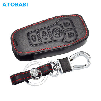 Leather Car Key Case For Ford Edge Explorer Fusion Mustang F-150 F-450 F-550 Lincoln MKZ MKC 5 Button Smart Remote Fob Cover Bag