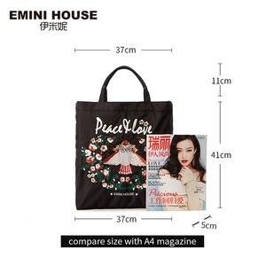 Image 3 - EMINI Bolsa de compra plegable de gran capacidad para mujer, bolso de mano bordado, cruzado, espacioso