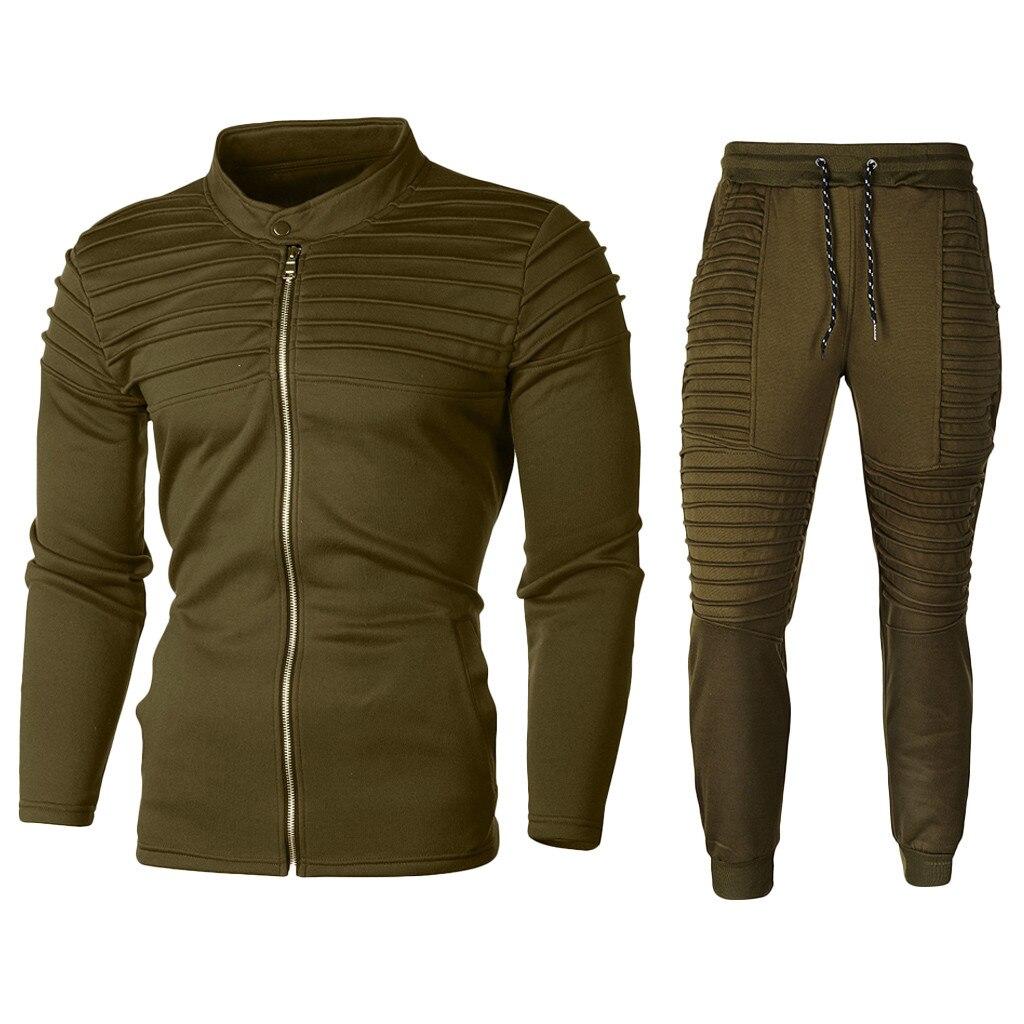 2019 New Men's Autumn Hoodies Tracksuit Set Male Sweatshirt Sweatpants Fashion Trousers High Street Jackets Sets 8.24